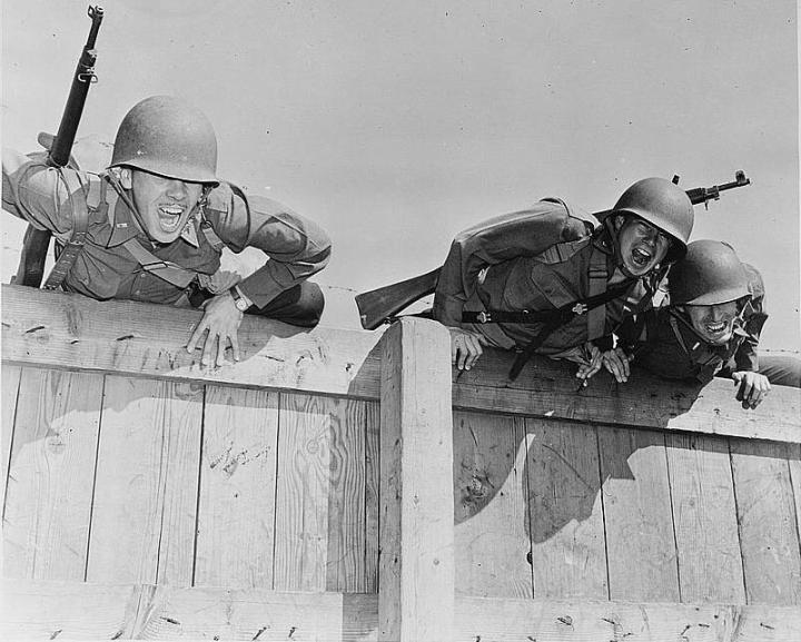 Wwii obstacle course soldiers vintage.
