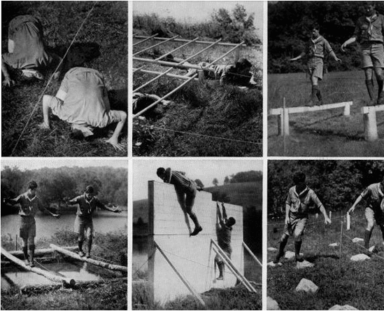 vintage boy scout 1940s obstacle course
