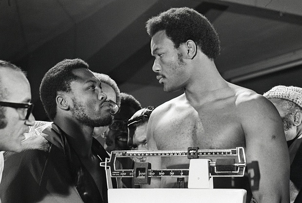 stare down george foreman joe frazier boxing