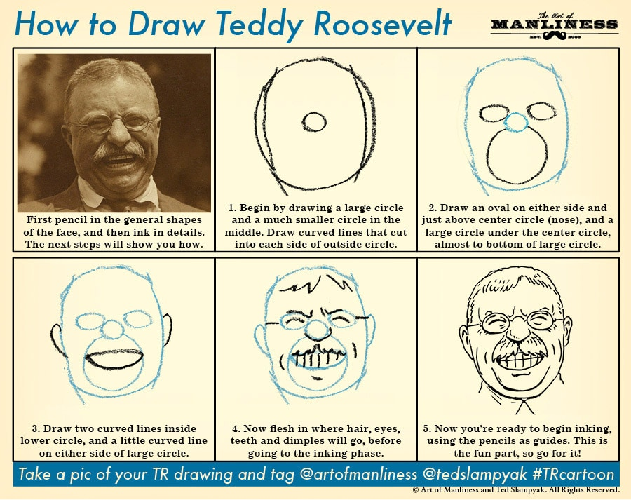 how to draw teddy roosevelt head smiling