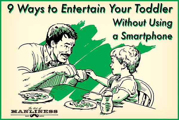 entertaining toddler at restaurant without smartphone illustration