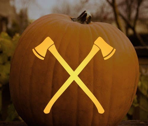 manly pumpkin carving stencil axes