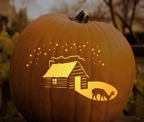 cabin and lake pumpkin stencil manly halloween carving