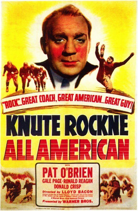 knute rockne all american poster best football movies