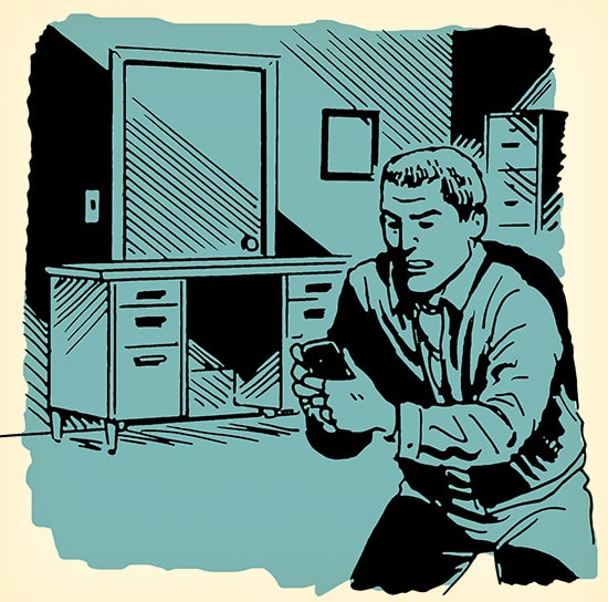 Man hiding in dark room active shooter illustration.