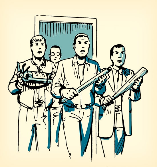 Men with weapons ready to fight shooter illustration.