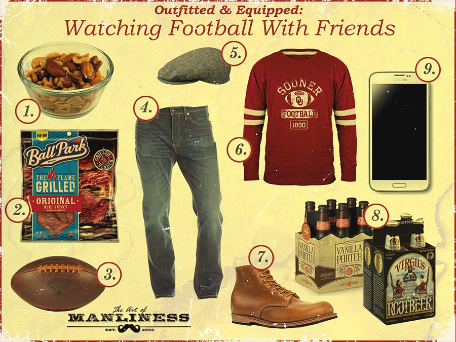 Outfitted and Equipped products while Watching Football with friends.