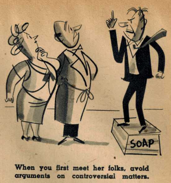 vintage illustration man on soap box meeting parents