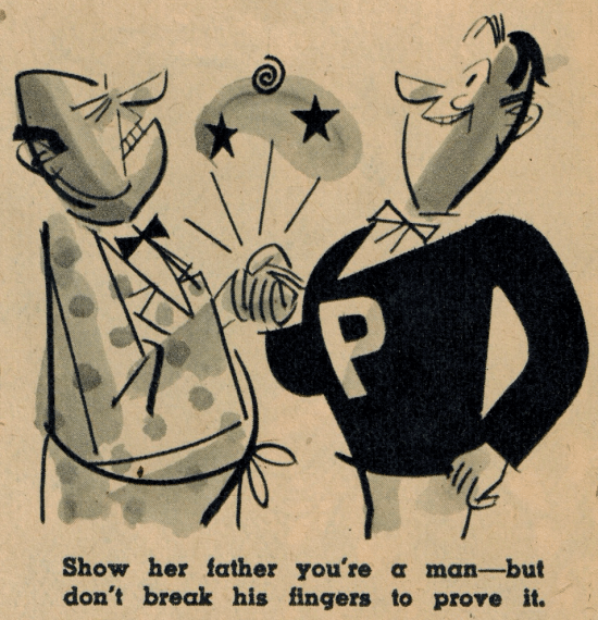 vintage varsity magazine illustration meet the parents