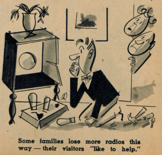 vintage magazine illustration man fixing radio varsity mag