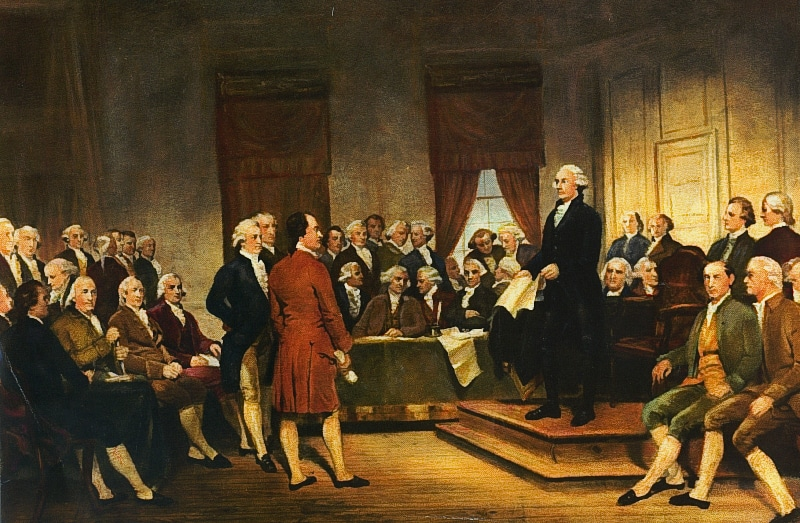 Founding fathers america creating constitution by gathering imortant personal painting.