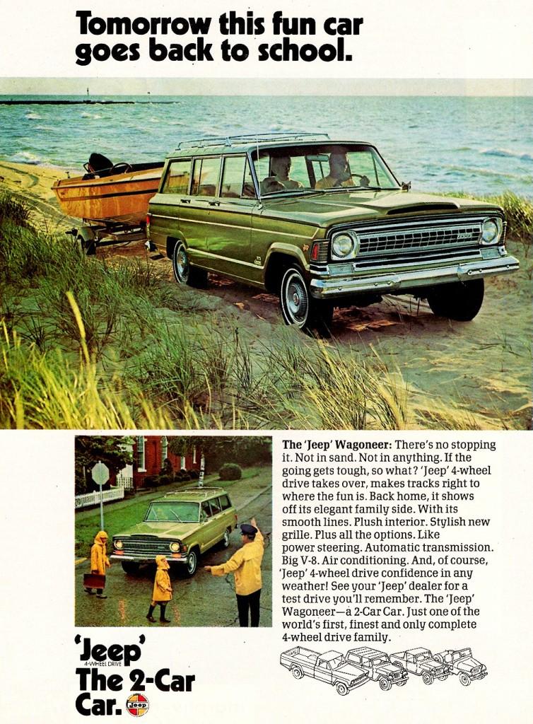 Vintage jeep Wagoneer Car ad advertisement 1970s.