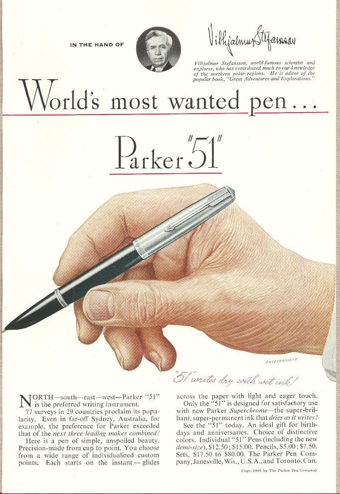 vintage parker 51 fountain pen ad advertisement