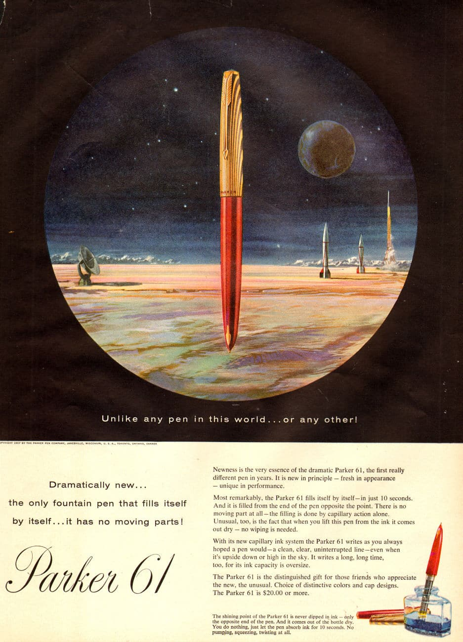 parker 61 fountain pen vintage ad advertisement