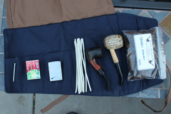pipe roll with smoking supplies lighter tobacco