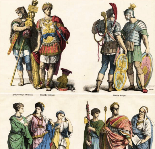 roman dress outfits togas different classes illustration