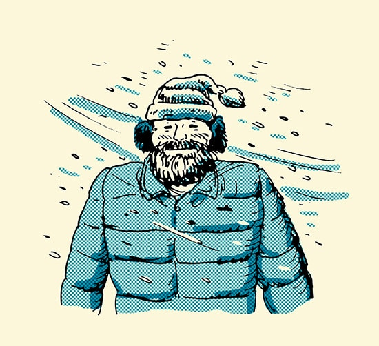 man with beard walking in snow smile illustration
