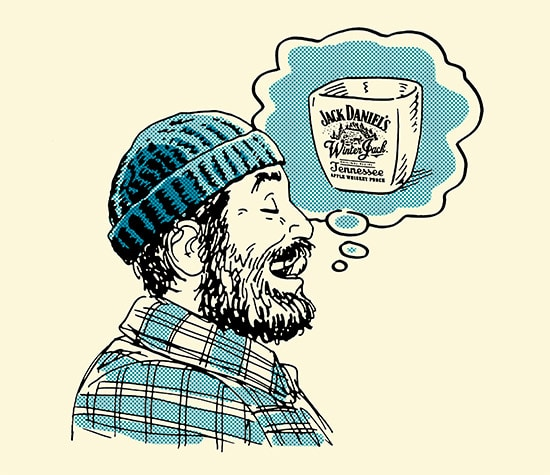 man with beard licking liquor from mustache illustration