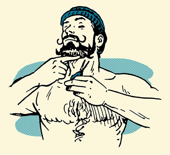 man trimming beard with scissors illustration