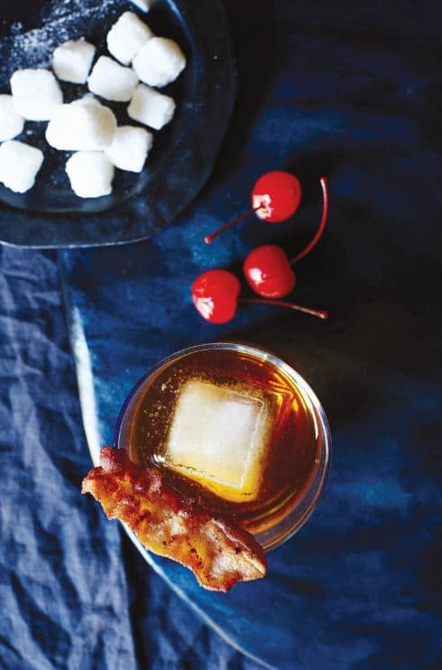 Bacon Old Fashioned recipe with homemade infused whiskey.