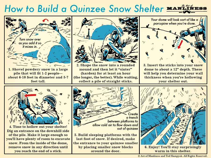 build a quinzee snow shelter illustration instructions