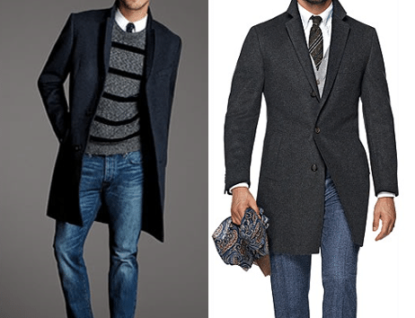 overcoat with jeans and sweater navy charcoal gray
