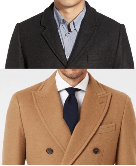 peak versus notched lapel overcoat comparison