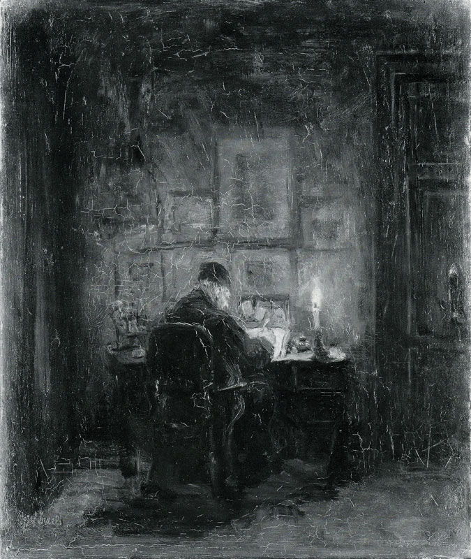 Vintage Etching Man at Desk writing in Candlelight.
