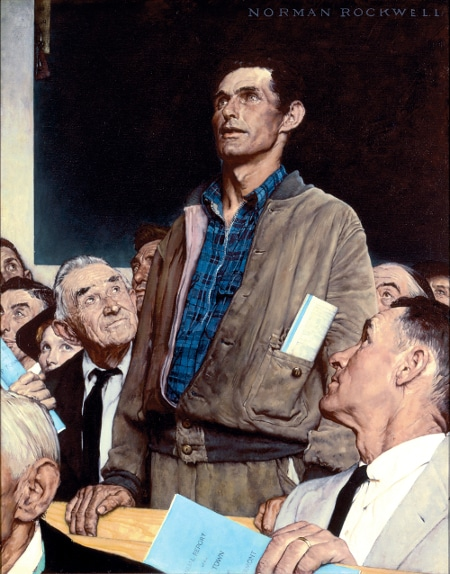 "Norman Rockwell (1894-1978), ""Freedom of Speech,"" 1943. Oil on canvas, 45 3/4"" x 35 1/2"". Story illustration for ""The Saturday Evening Post,"" February 20, 1943. Norman Rockwell Museum Collections. ©SEPS: Curtis Publishing, Indianapolis, IN."