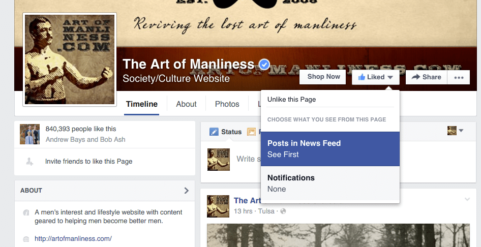 Facebook Official Page Of The Art Of Manliness.