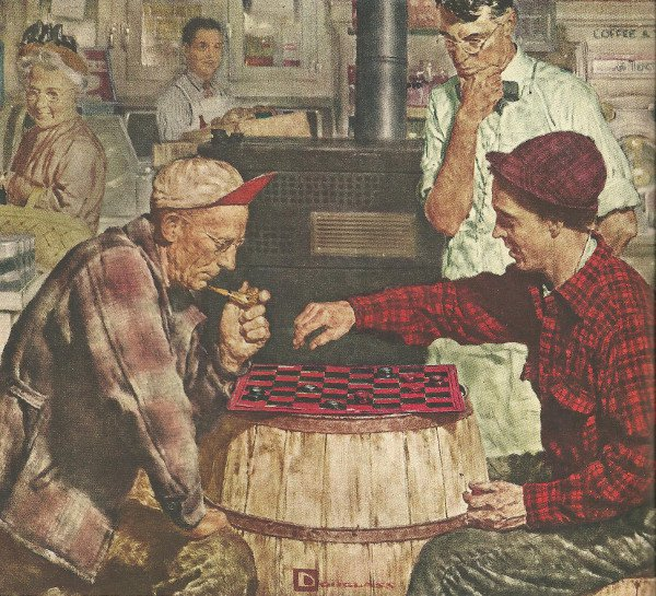 vintage older man playing checkers on barrel painting