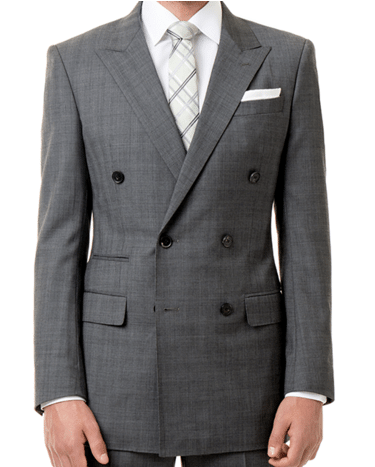 gray textured double breasted suit with woven tie pattern