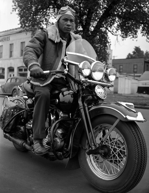 vintage black african american man on motorcycle
