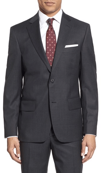 charcoal gray suit with red dot die white shirt