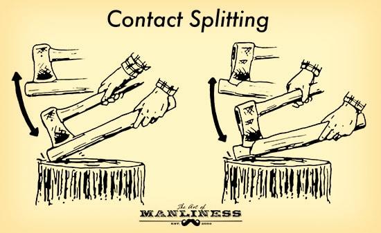 man splitting small stick illustration