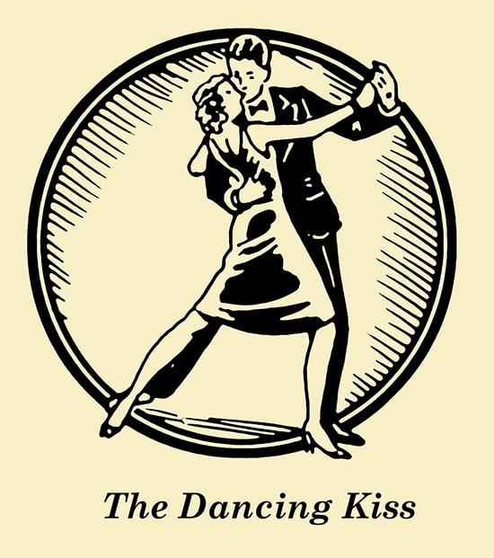Couple dancing kiss illustration.