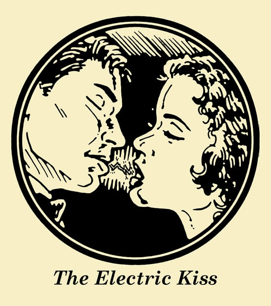 couple kissing spark lightning bolt electric kiss illustration