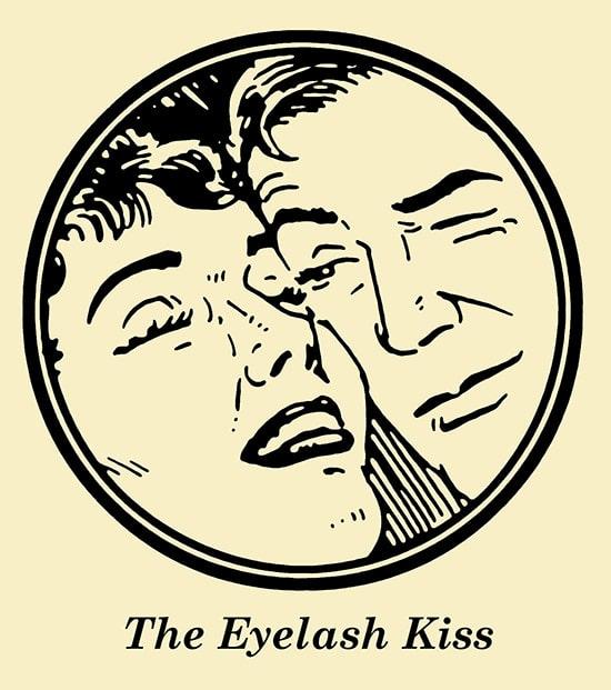 Couple eyelash kiss illustration.