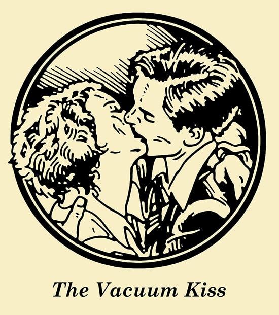 Couple doing vacuum kiss illustration.