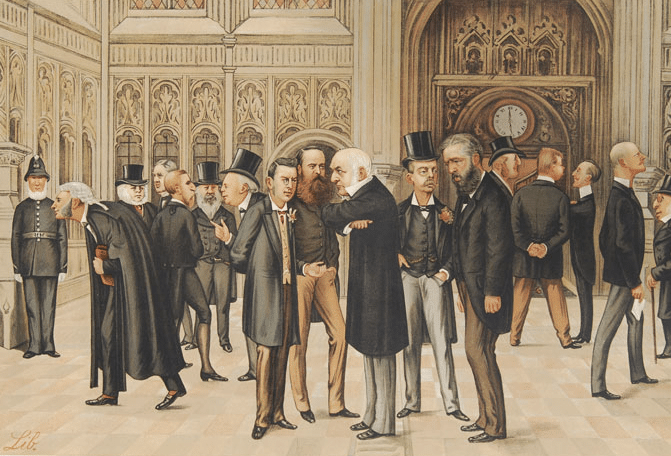 vintage painting british men standing around arguing