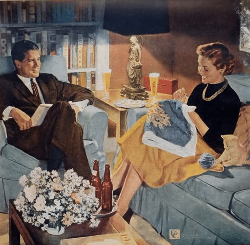 vintage couple sitting on couch talking needlework illustration