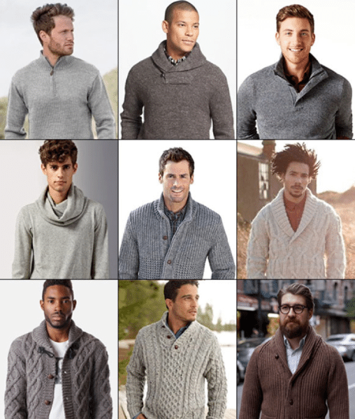 collage of large collar styles sweaters cardigans cabled