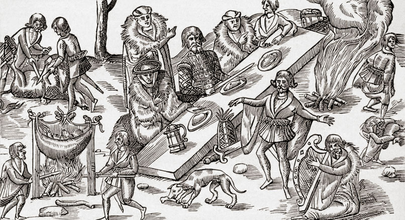 Medieval Irish banquet convas illustration.