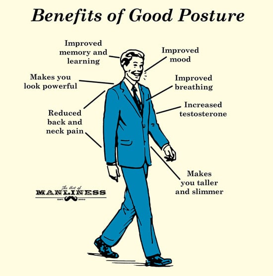 benefits of good posture businessman walking illustration