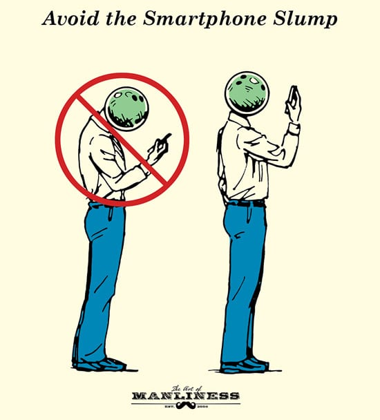man with bowling ball head looking at smartphone posture illustration