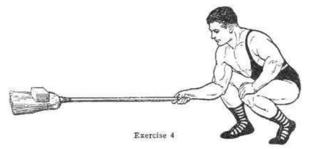 Strongman bodybuilder doing exercise for lifting broom illustration.