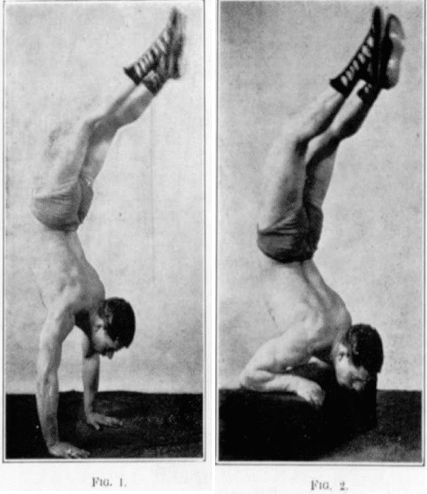 vintage oldtime strongman exercise handstand pushup