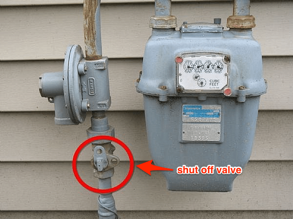 Gas meter shut off valve.