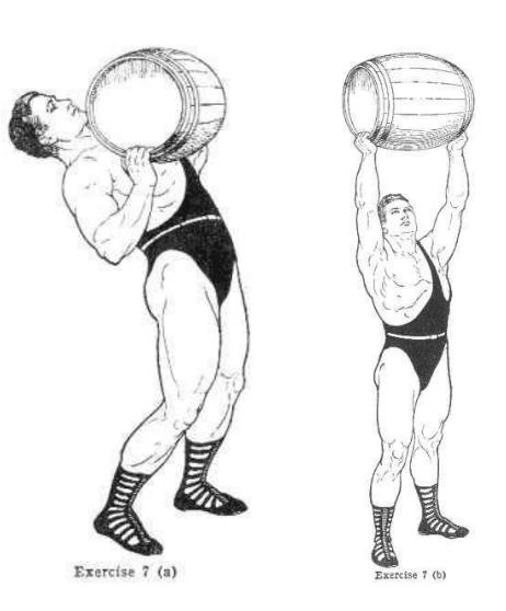 vintage oldtime strongman exercise overhead barrel lift illustration