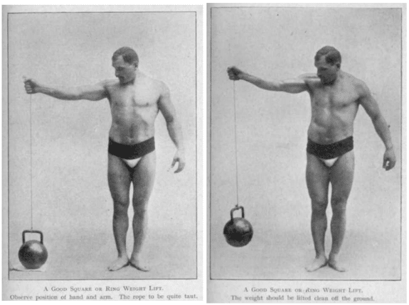 vintage oldtime strongman exercise lateral kettlebell lift